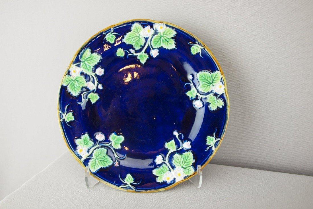 "517:  GEORGE JONES cobalt floral plate, 8 1/4"""