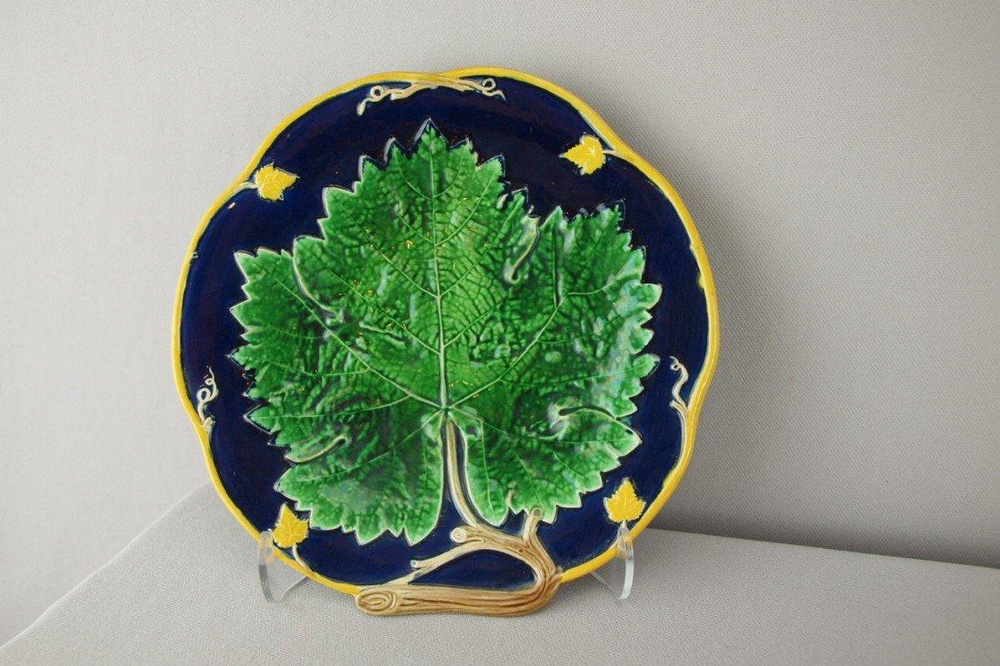 """518:  HOLDCROFT maple leaf on cobalt plate, 8"""""""