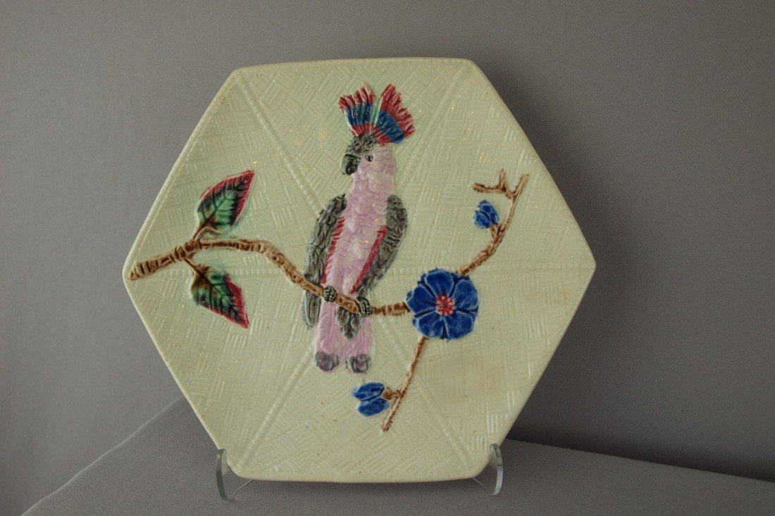 """519:  FIELDING parrot on branch hexagon plate, 8 1/2"""""""