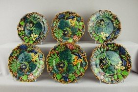 SAMUEL ALCOCK Set Of 6 Floral And Fern Plates, Gr