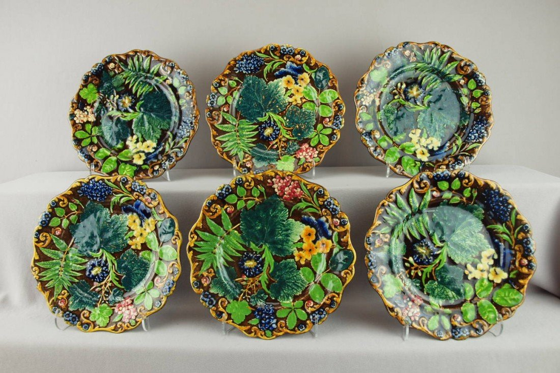 521:  SAMUEL ALCOCK set of 6 floral and fern plates, gr