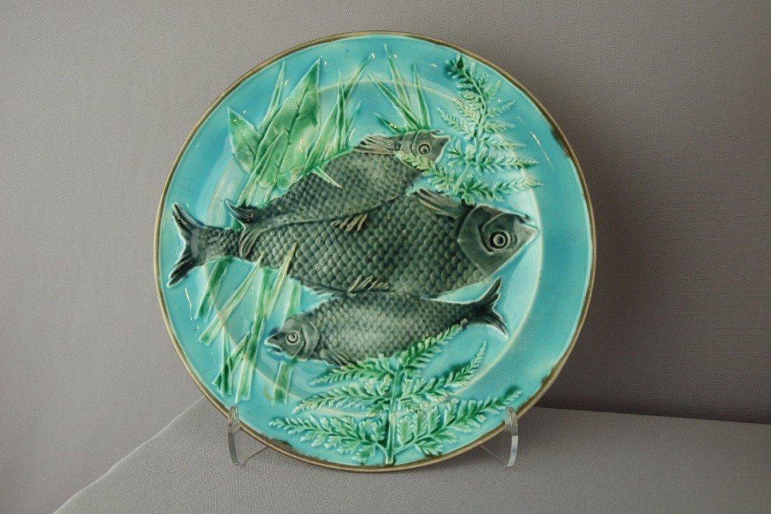 "522:  WEDGWOOD turquoise triple fish plate, 8 3/4"""