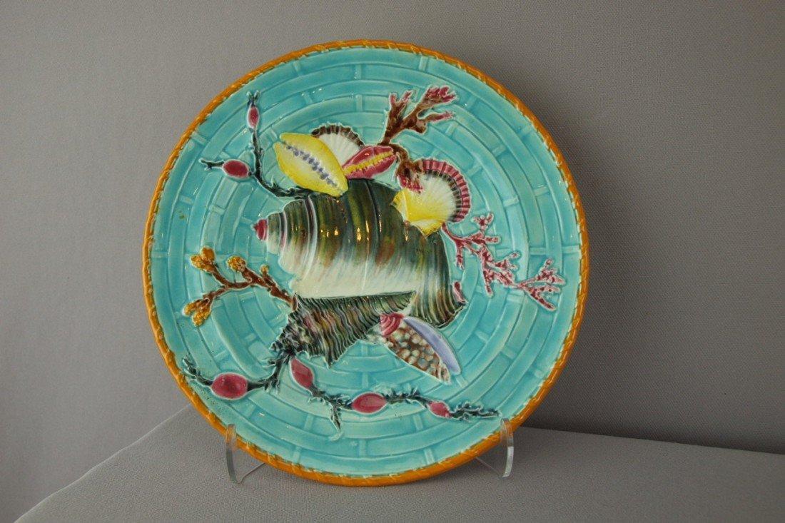 524:  WEDGWOOD turquoise shells on basket plate with ye