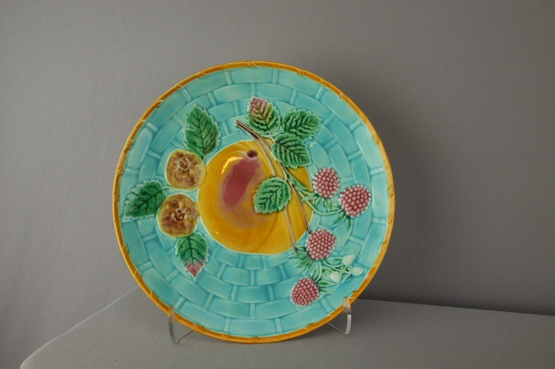 525:  WEDGWOOD turquoise majolica fruit on basket plate