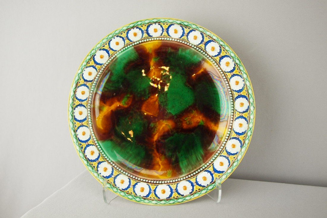 """529:  WEDGWOOD Stanley plate with daisy border, 9"""""""