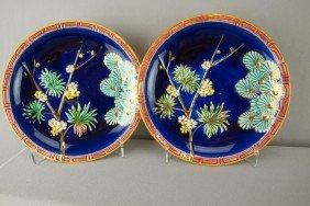WEDGWOOD Cobalt Oriental Floral Pair Of Plates Wi