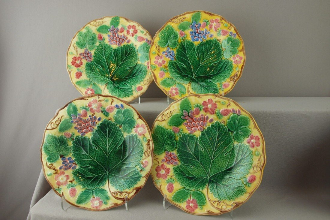 """540:  WEDGWOOD majolica set of 4-8 3/4"""" strawberry and"""