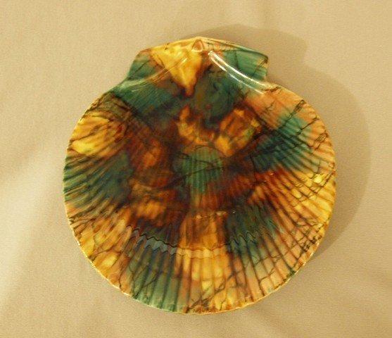 "543:  WEDGWOOD mottled shell shaped plate, 8 1/4"""
