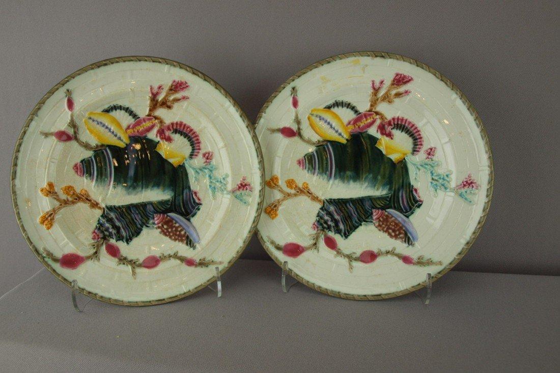 "545:  WEDGWOOD pair of shells on basket 8 3/4"" plates"