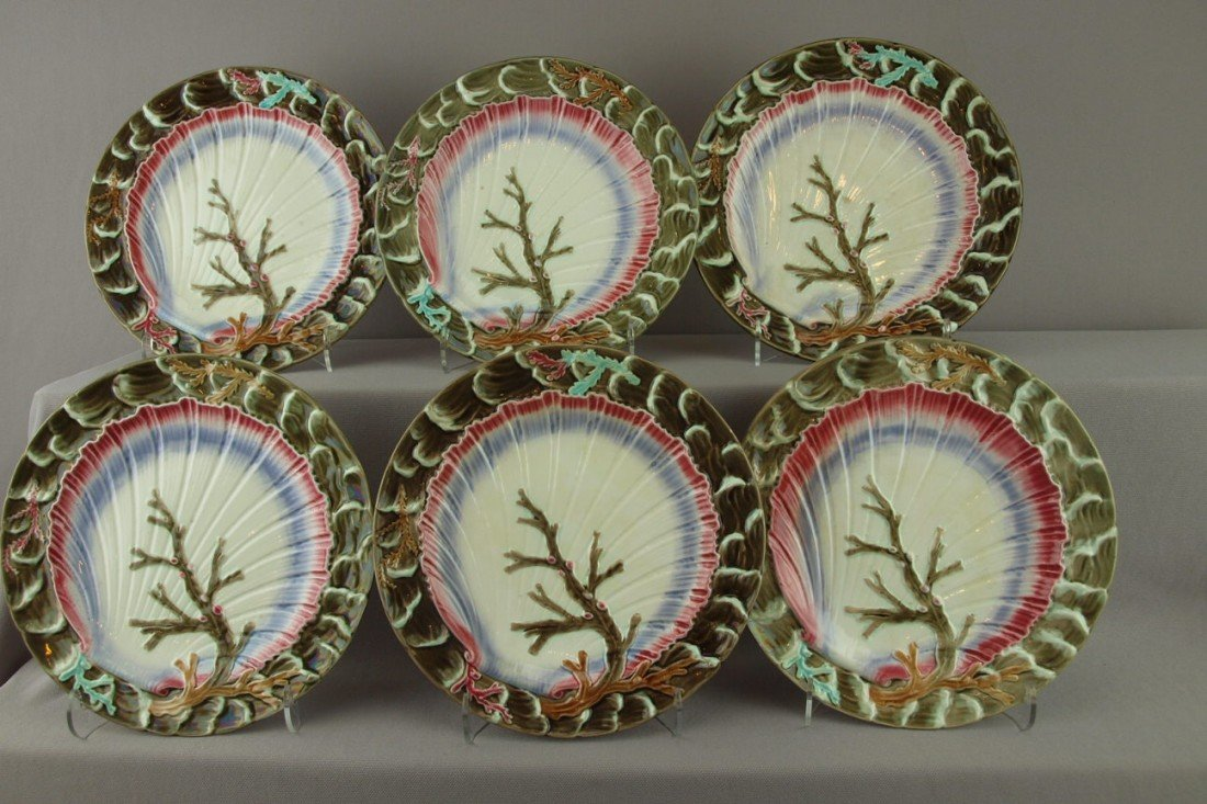 """546:  WEDGWOOD set of 6-8 3/4"""" """"Ocean"""" plates with gray"""