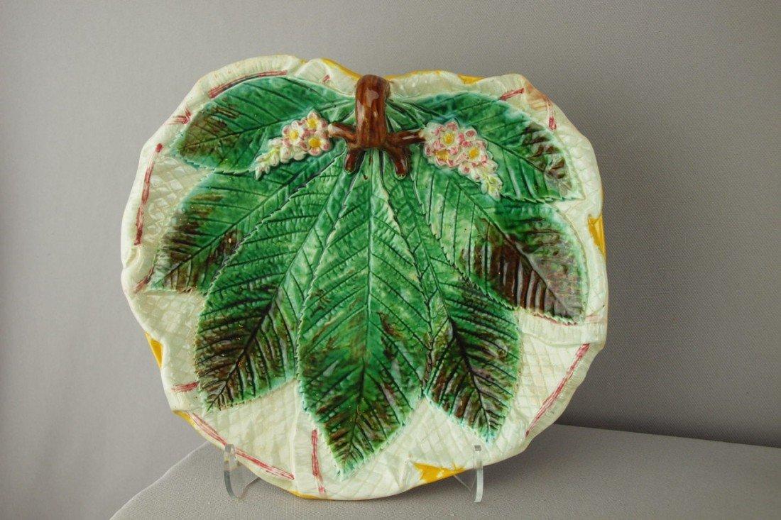576:  GEORGE JONES chestnut leaf on napkin server with