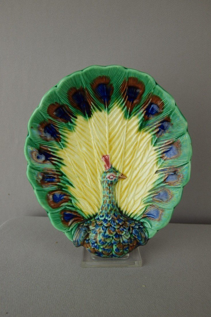 578:  WEDGWOOD rare tray in the form of a peacock, grea