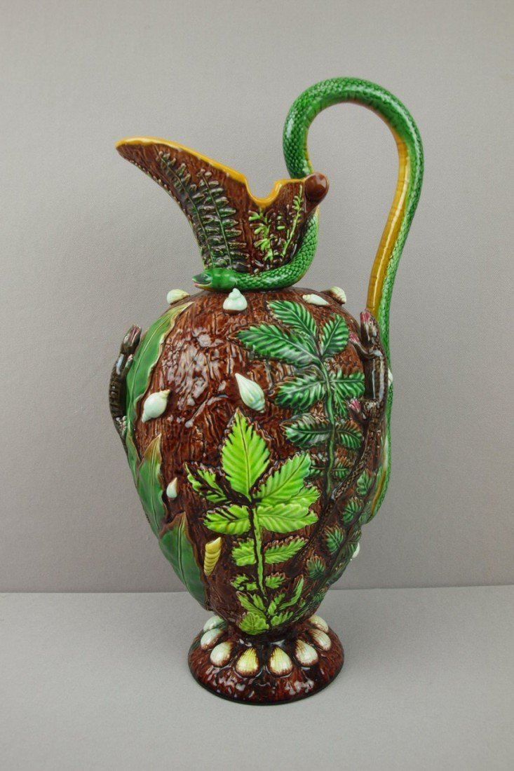 590:  GEORGE JONES rare Palissy style ewer with snake h