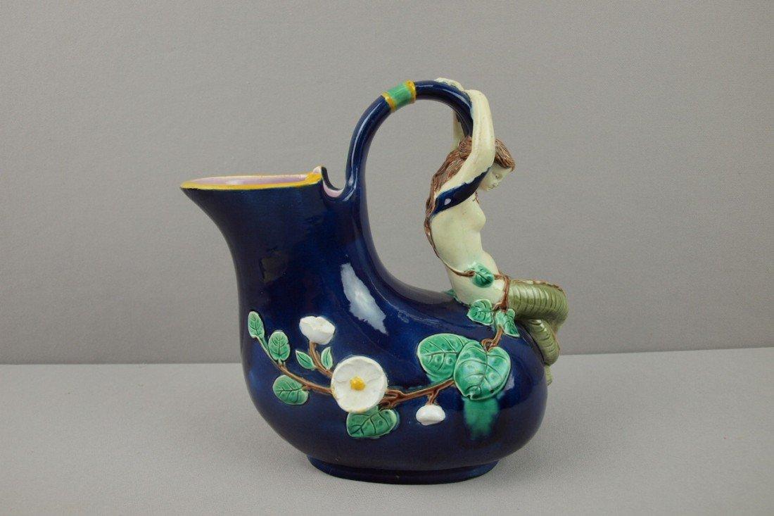 591:  HOLDCROFT cobalt majolica mermaid wine jug, outst