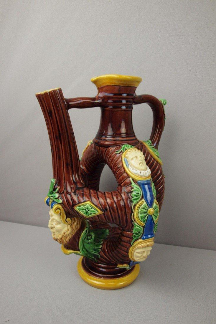 592:  MINTON majolica rare flemish pitcher with lavende