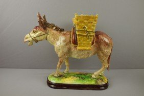 JEROME MASSIER Large Donkey With Baskets Figural