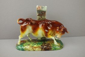 DELPHIN MASSIER Figural Vase With A Raging Bull,