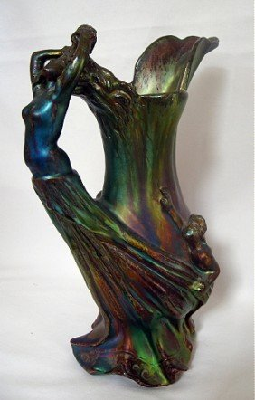 JEROME MASSIER Iridescent Glazed Art Nouveau Cera