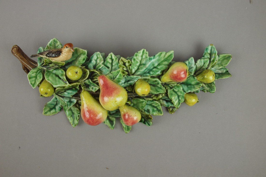 646:  Five Lille French majolica wall pocket with bird