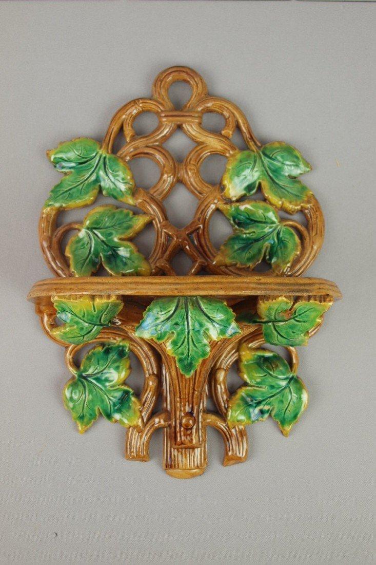 656:  Majolica vine and leaf bracket shelf, professiona