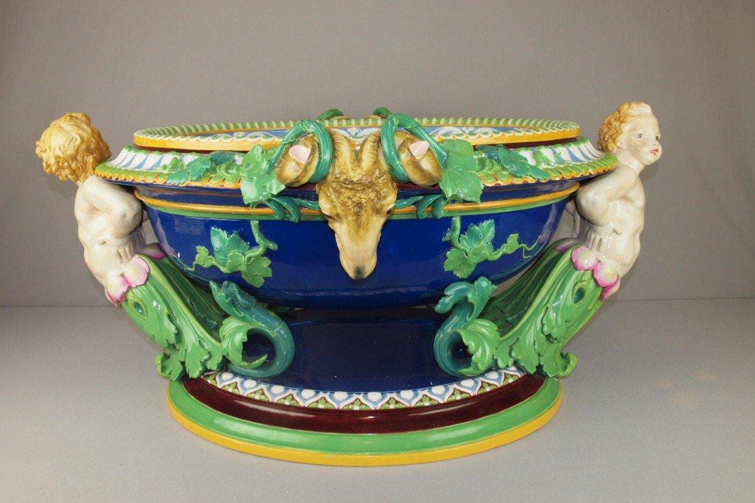 660:  MINTON monumental majolica wine cistern modelled