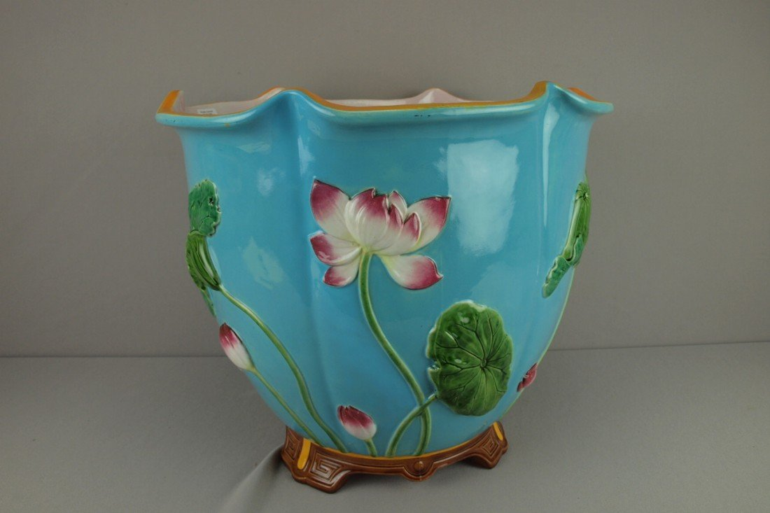 684:  MINTON rare majolica large floral jardiniere with