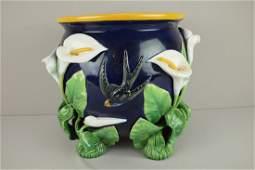 688: GEORGE JONES cobalt majolica calla lily and bird
