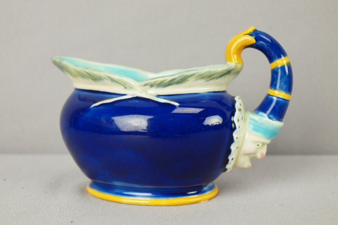 """WEDGWOOD cobalt majolica """"Punch and Toby"""" creamer"""