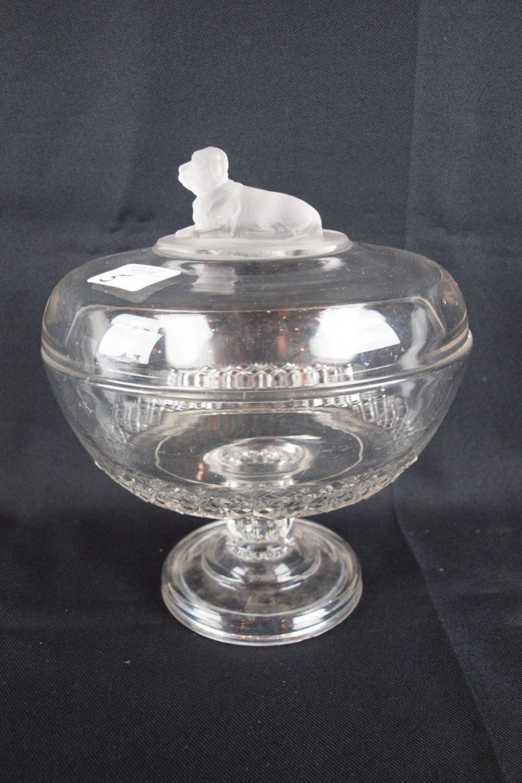 """5: EAPG Frosted Dog covered compote, 9 1/2""""h, 8 1/2""""d,"""