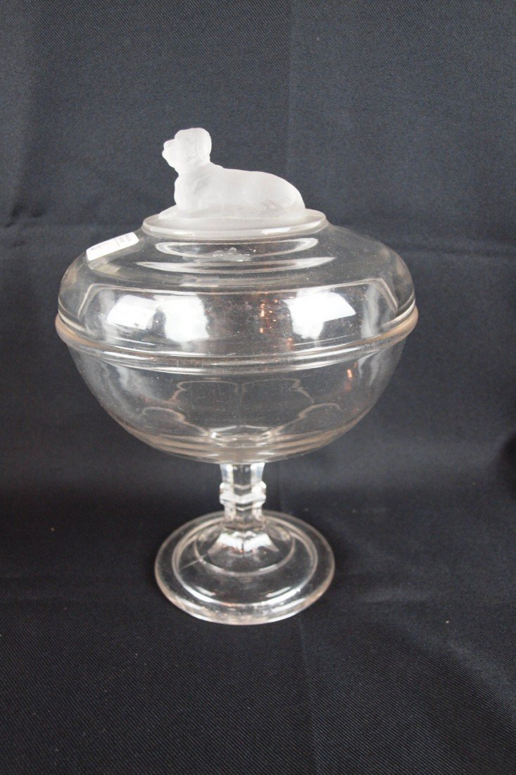 """6: EAPG Frosted Dog covered compote, 10 1/2""""h, 7 1/2""""d,"""