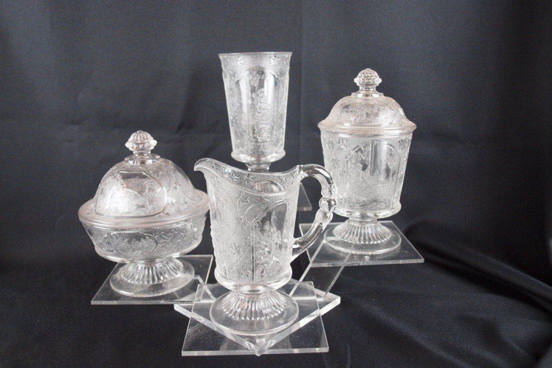 7: EAPG Canada glass table set with covered butter, cre