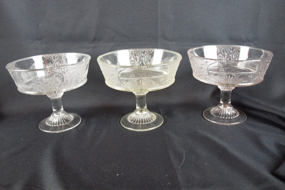 """11: EAPG Canada pattern lot of 3 open comports, 7""""h, 8"""""""