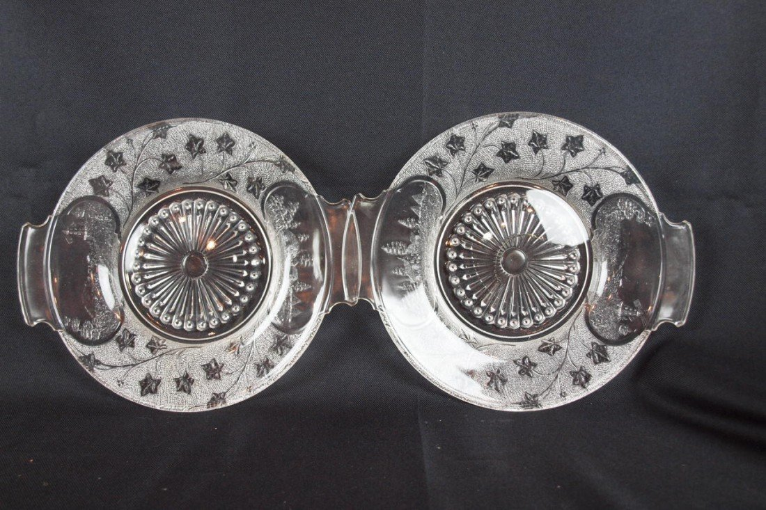 """13: EAPG Canada pattern pair of two handled trays, 12"""""""