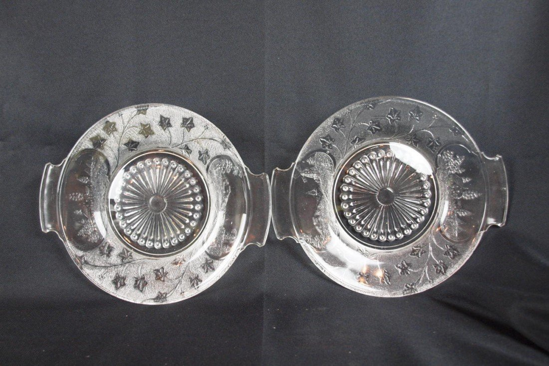 """14: EAPG Canada pattern pair of two handled trays, 12"""""""