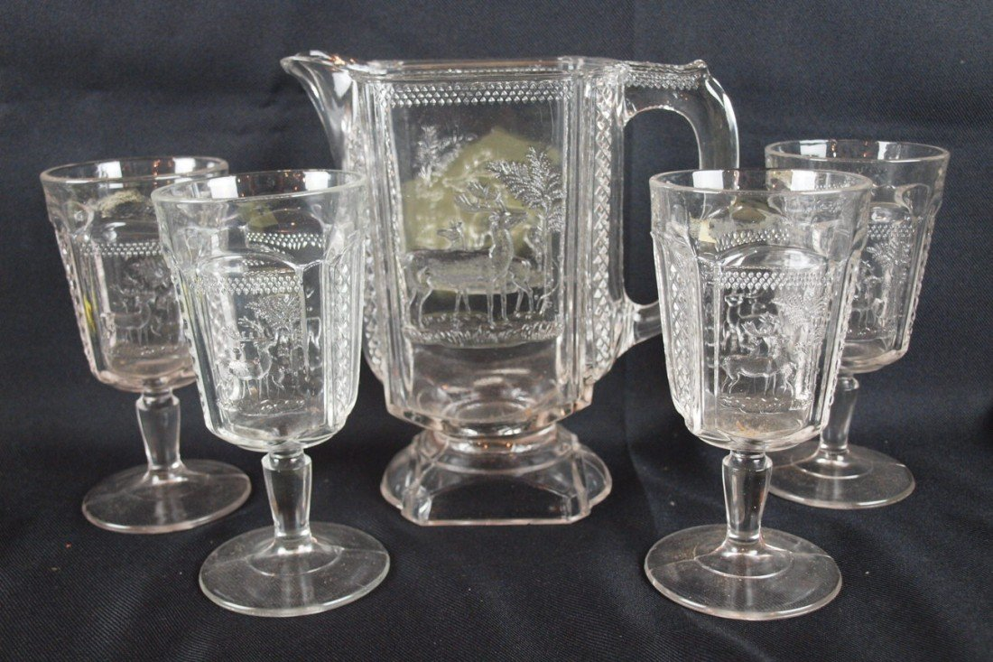 """20: EAPA """"Deer and Pine Tree"""" water pitcher and 4 goble"""