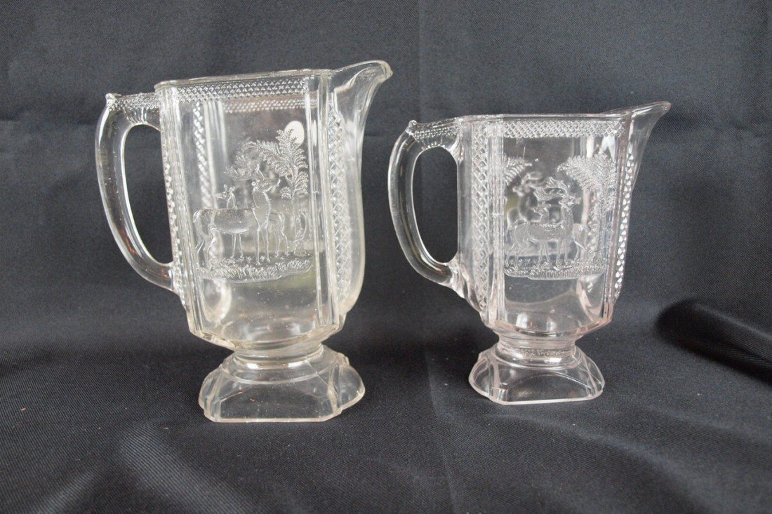 """23: EAPA """"Deer and Pine Tree"""" water pitcher (nicks) and"""