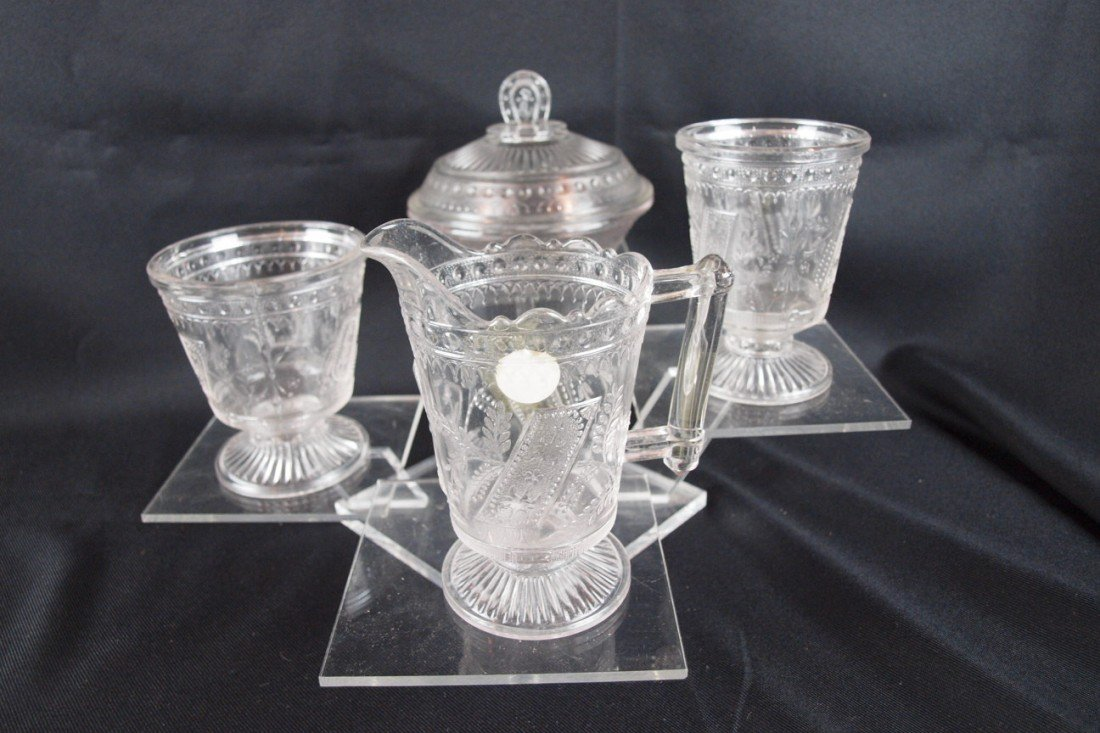 """27: EAPG """"Good Luck"""" 4 piece table set with covered but"""