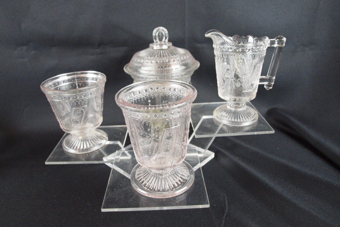 """28: EAPG """"Good Luck"""" 4 piece table set with covered but"""