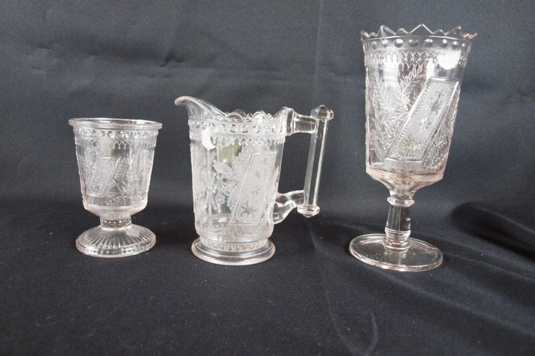 """30: EAPG """"Good Luck"""" lot of 3 pieces - spooner, syrup p"""