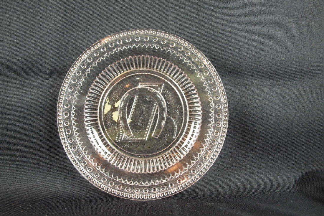 """32: EAPG """"Good Luck"""" round tray, 10"""""""