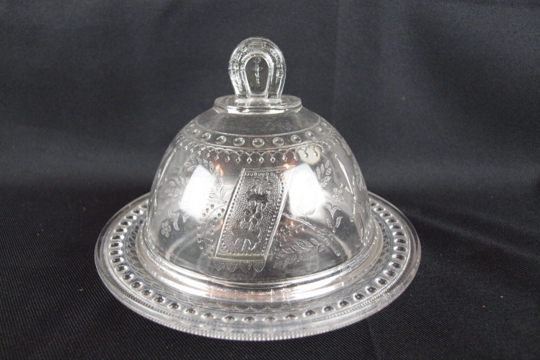 """33: EAPG """"Good Luck"""" covered cheese dish with lady and"""