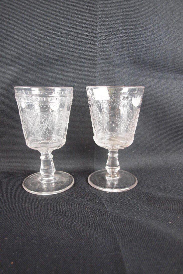 """35: EAPG """"Good Luck"""" lot of 2 goblets, 6"""""""