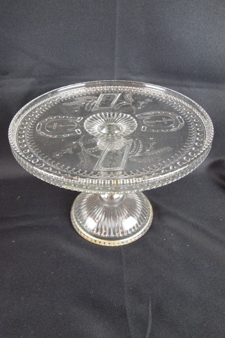 """36: EAPG """"Good Luck"""" cake stand, 7 1/4""""h, 10""""d"""