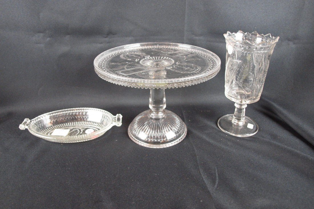 """39: EAPG """"Good Luck"""" lot of 3 pieces - pickle dish, cak"""