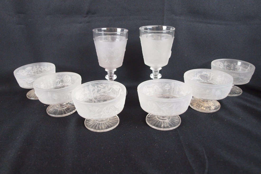 "42: EAPG ""Westward Ho"" lot of 2 goblets (nicks to one)"