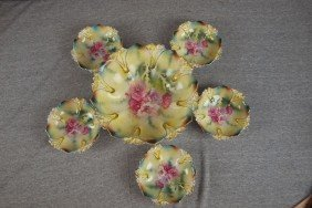 R.S. Prussia 6 Piece Berry Set With Floral Motif
