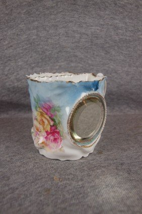 R.S. Prussia Shaving Mug With Beveled Mirror And Fl