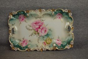 R.S. Prussia Dresser Tray With Roses, 11 1/2""