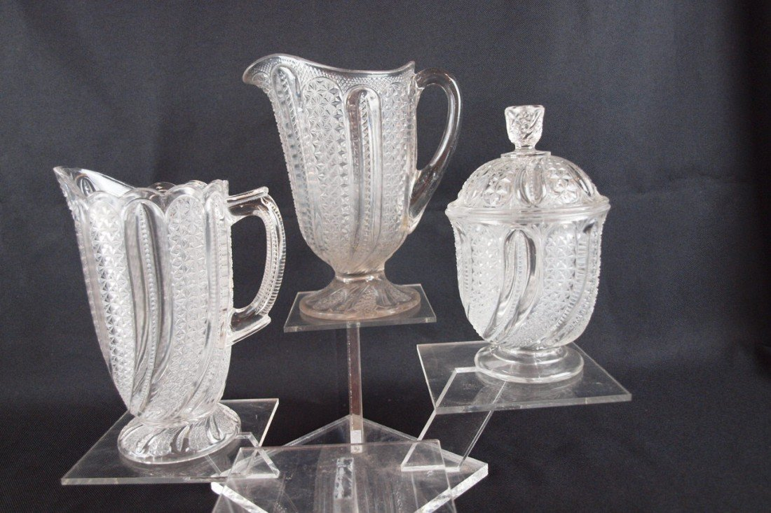 """73: EAPG """"Indiana Feather"""" water pitcher, milk pitcher"""