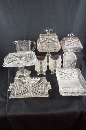 "EAPG ""Ashman"" Lot Of 14 Pieces - Water Pitcher, 2 C"